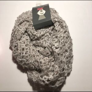 Pink and gray loop scarf